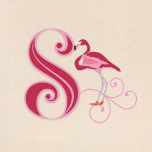 CalliLetters Flamingo Initiale Hand Lettering und Illustration