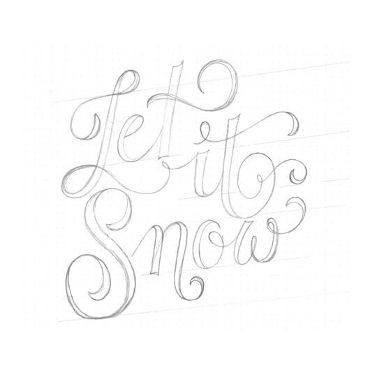 "Bleistiftskizze, Hand Lettering ""Let it snow"""