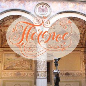 "CalliLetters Hand Lettering ""Florence"" mit floral-dekorativen Elementen"
