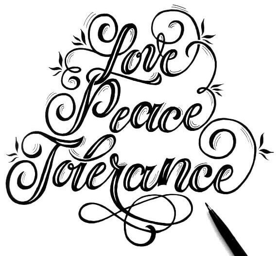 Handlettering-Skizze Love-Peace-Tolerance