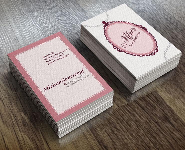 Handlettering (Typologo) und Visitenkarten für Miris Schmuckerei