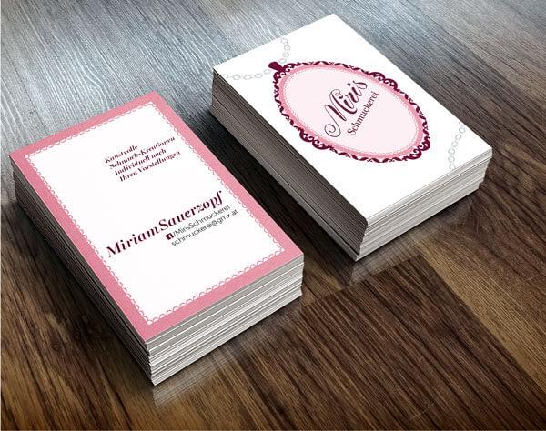 Visitenkarten für Miris Schmuckerei