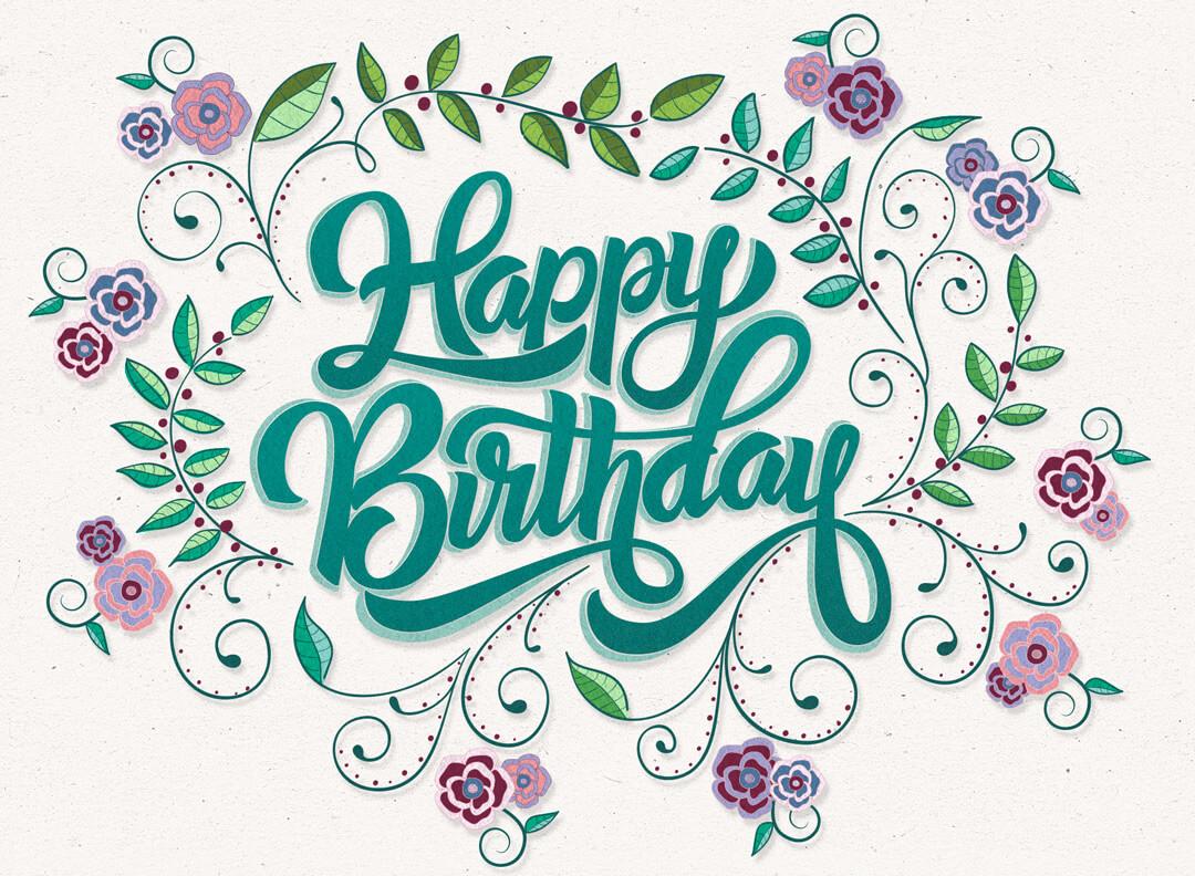 Hand Lettering und Illustration: Happy Birthday
