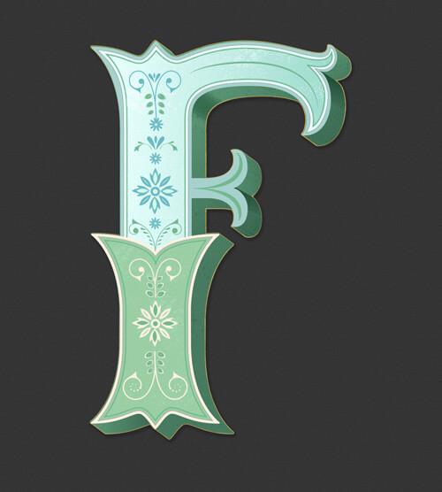 CalliLetters: Letteringdesign, Buchstabe F im Vintagestil, illustrierte Dekorelemente