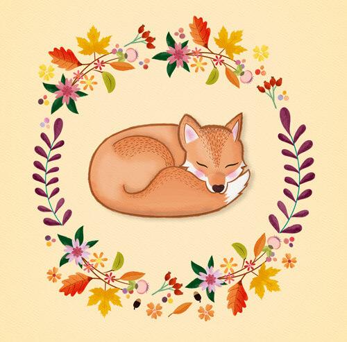 CalliLetters: Illustration mit Herbstkranz und Fuchs