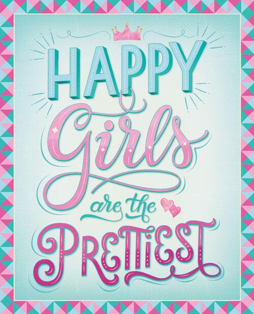 "CalliLetters: Handlettering ""Happy Girls are the prettiest"" für Buch ""Kreatives Handlettering"", NGV-Verlag, Köln, Deutschland"