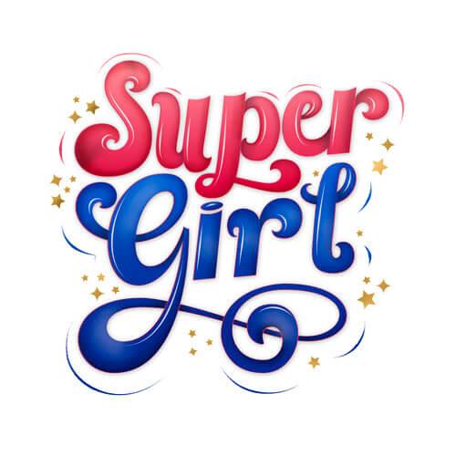 CalliLetters, Handlettering Design, Super Girl: handgezeichneter Schriftzug mit Sternen und dynamischen Linien