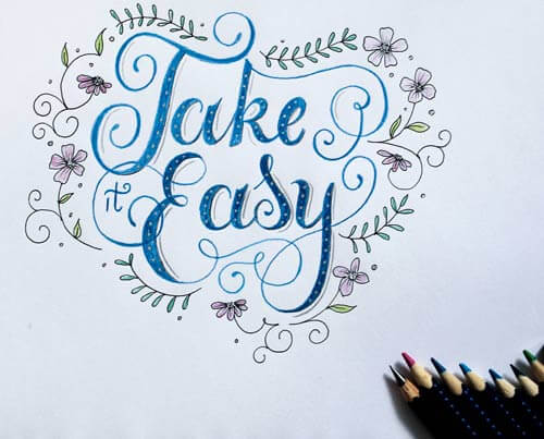 CalliLetters: Take it Easy, Handlettering mit Faber Castell Aquarellbuntstiften
