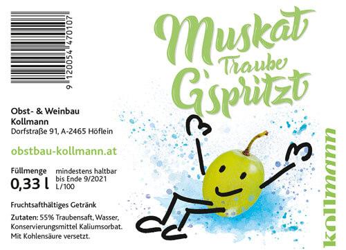 CalliLettersTraubeG'spritzt_Etikett_KollmannObstbau