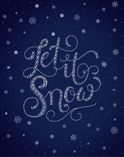 """CalliLetters: handgemachter Schriftzug / Let it snow / Rückseite eines Briefpapiers, erschienen im Buch """"Kreatives Hand Lettering"""", NGV-Verlag, Köln, Deutschland"""