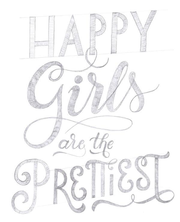 CalliLetters-Handlettering-Bleistiftskizze-HappyGirls