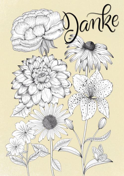 """CalliLetters: Handlettering """"Danke"""" mit detailreicher Illustration von Blumen, Vintage Stil, LineArt, schwarz-weiß"""