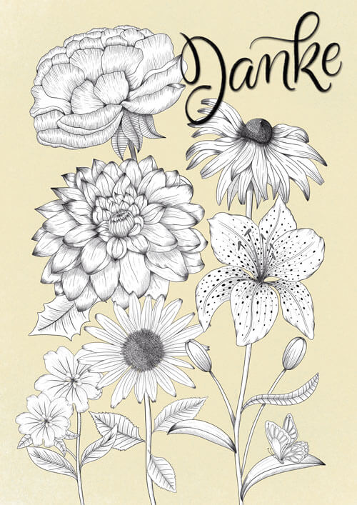 "CalliLetters-Handlettering-""Danke""--Illustration-Blumen-Vintage-Stil-LineArt-schwarz-weiß"