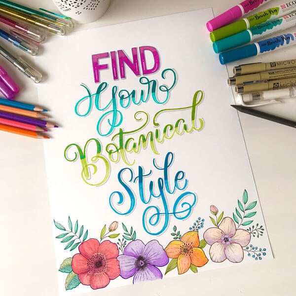 CalliLetters-Brushkalligraphy-Illustration-Florals-Blumen-Ecoline-Pentel-Buntstifte-MixedMedia