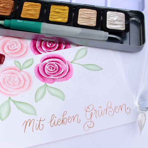 CalliLetters-Kalligrafie-Grusskarte-Aquarell-Rosen-Watercolour-handmade-with-love