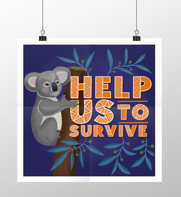 CalliLetters-Handlettering-Illustration-Typografie-Koalabaer-Posterdesign-Australien-Wildlife-Natur