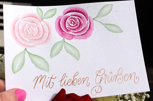 CalliLetters-Handlettering-ModerneKalligrafie-Aquarell-Rosen-Grusskarte-handgemacht-Handschrift
