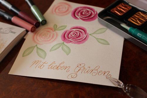 CalliLetters-Kalligrafie-Grusskarte-Aquarell-Rosen